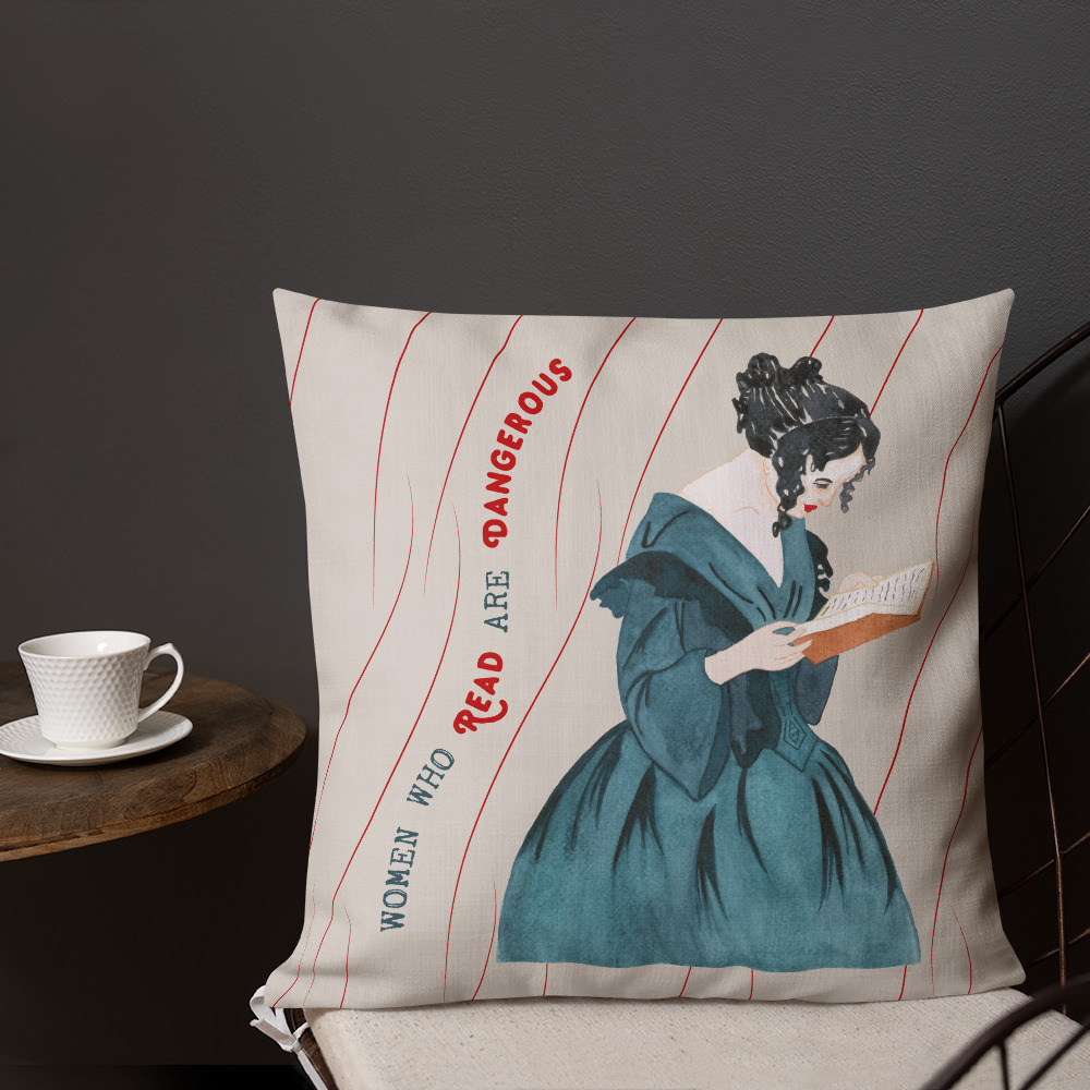women who read are dangerous throw pillow feminist gift