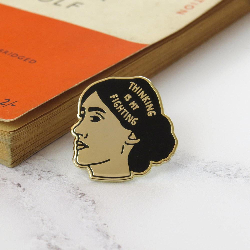 Virginia Woolf Enamel Pin - Feminist Enamel Pin Badge