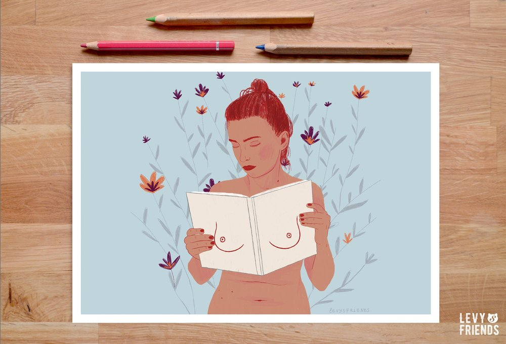 Book Lover Gift, Reading Poster, Girl with Book