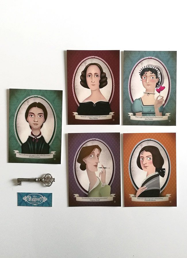 5 literary postcards - Jane Austen,Virginia Woolf, Mary Shelley, Charlotte Bronte and Emily Dickinson