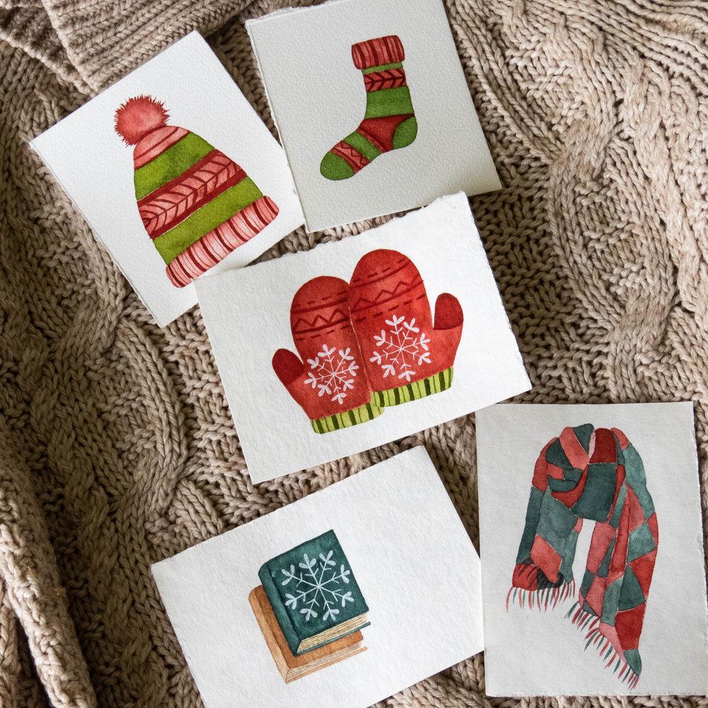 winter favorites watercolor illustrations - mittens beanie socks scarf books