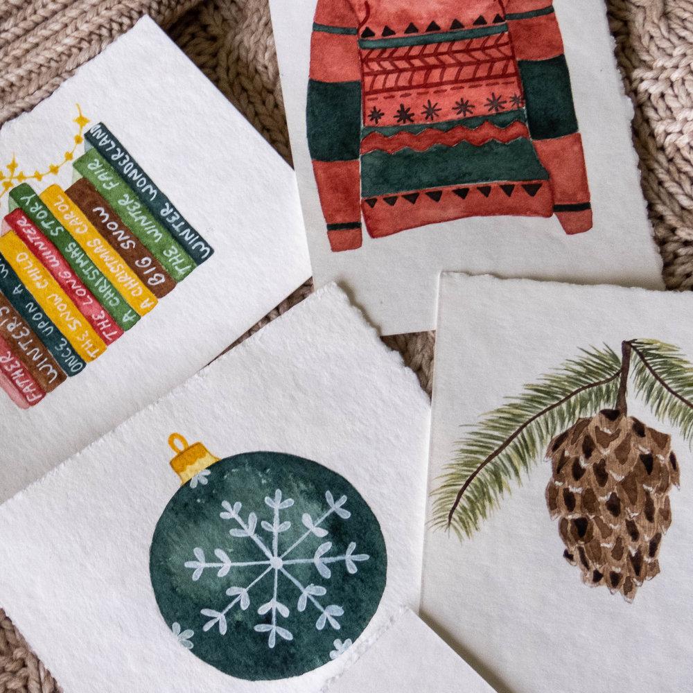 watercolor winter christmas favorites illustrations