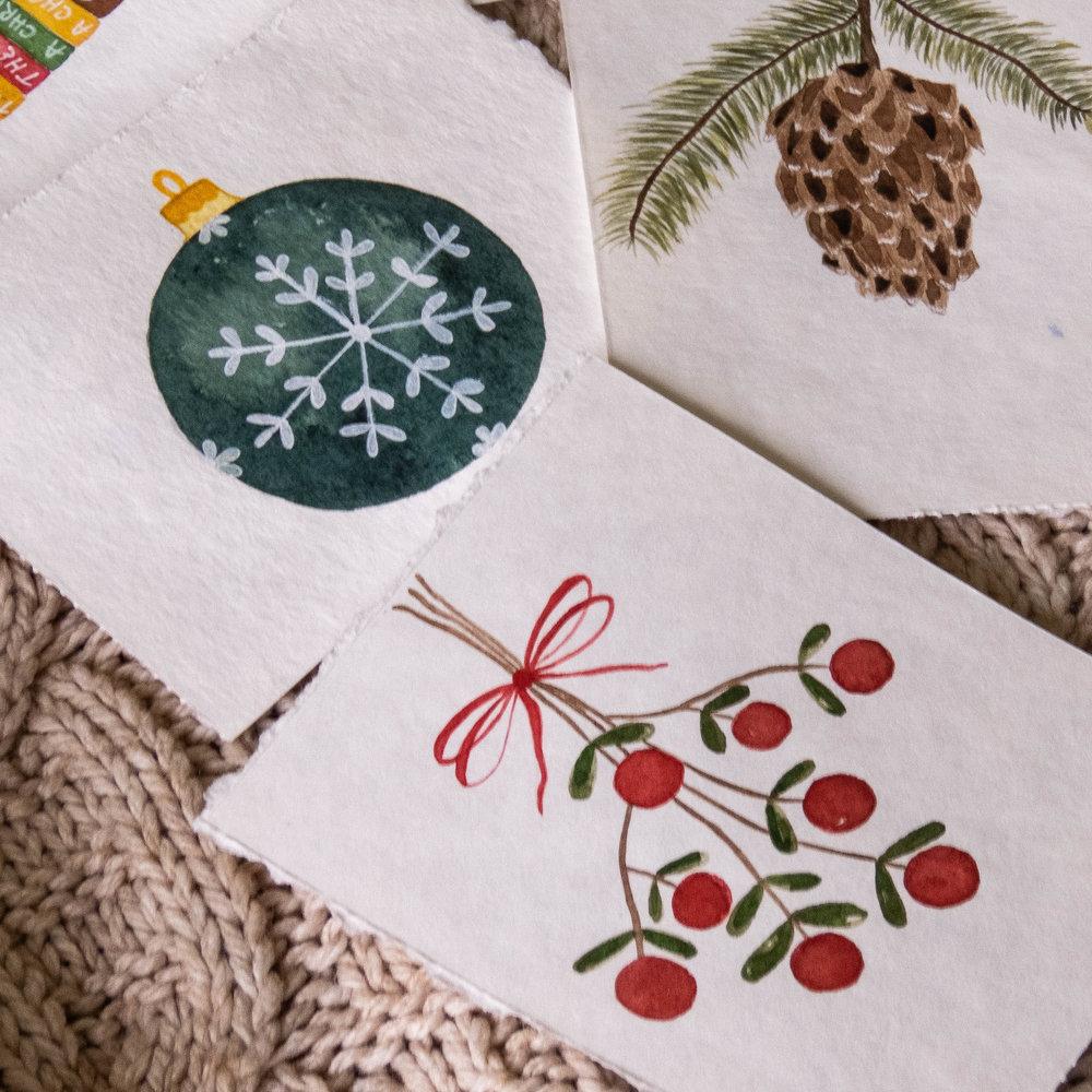 watercolor winter favorites mistletoe pine cone ornaments