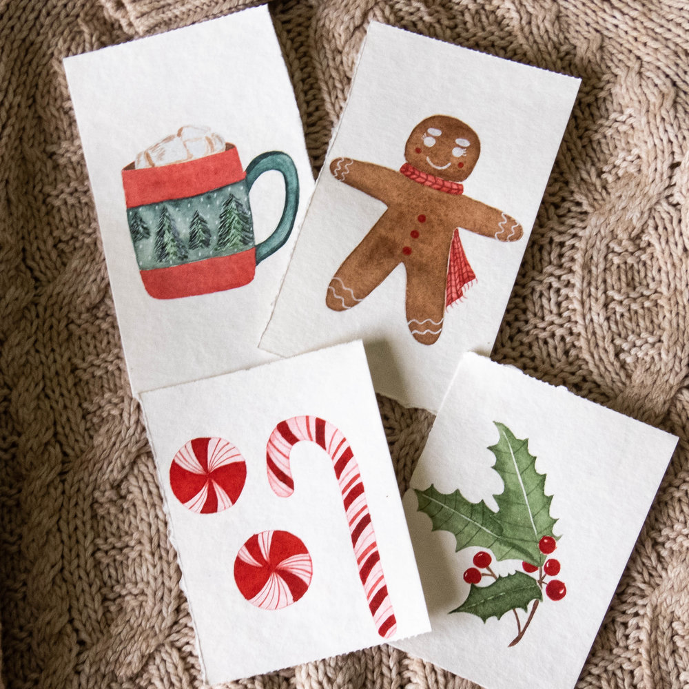 winter favorites gingerbread candy cane holly illustration