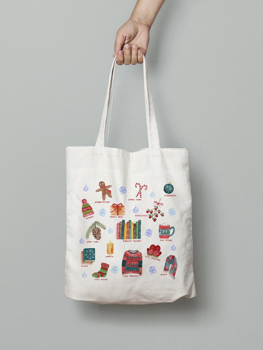 watercolor illustrations Winter favorites tote bag