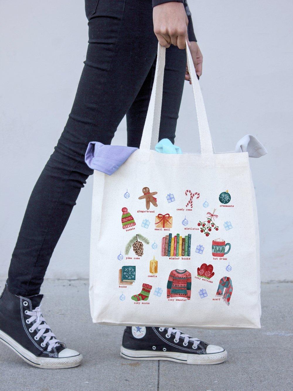 Winter favorites tote bag watercolor illustrations