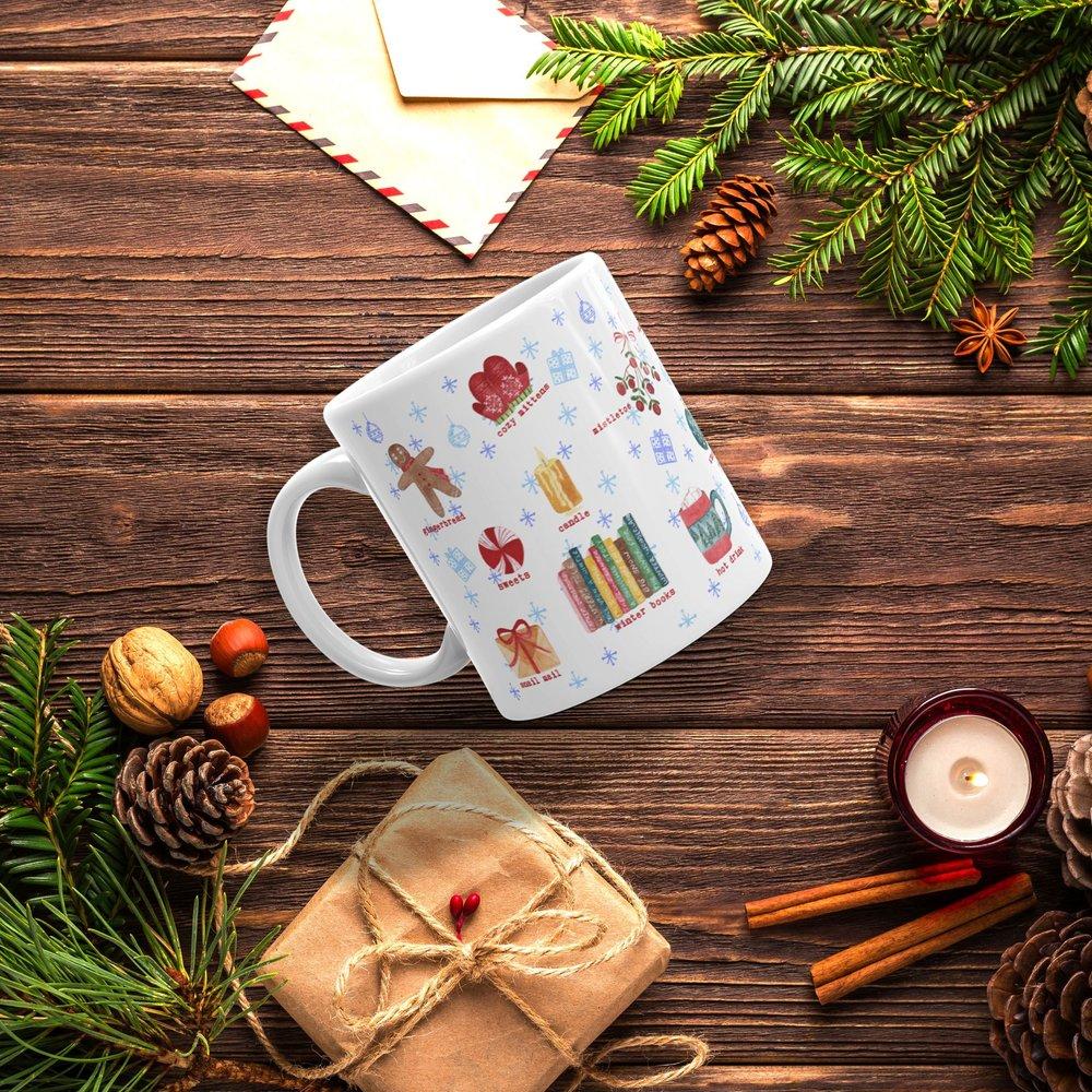 winter watercolor illustrations coffee mug