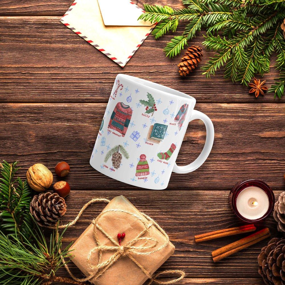 winter favorites watercolor illustrations tea lover mug