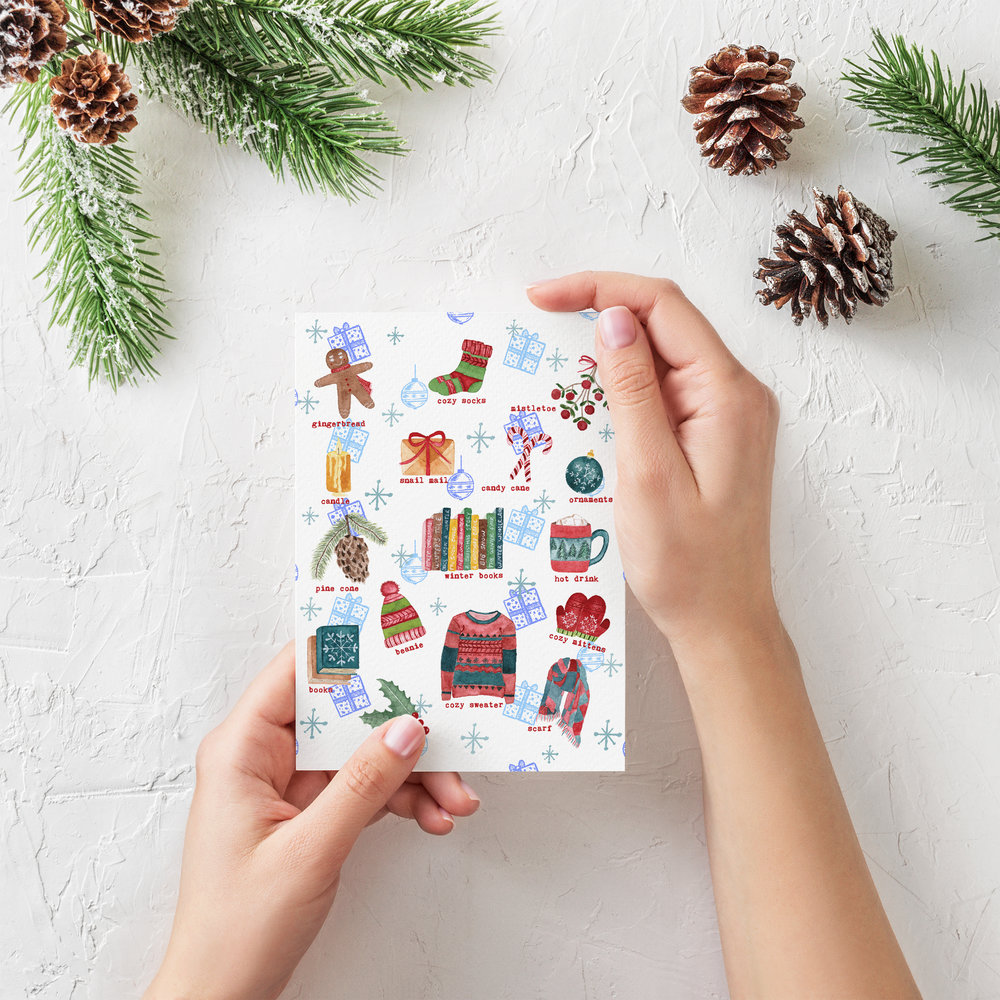 winter christmas greeting card for book lovers