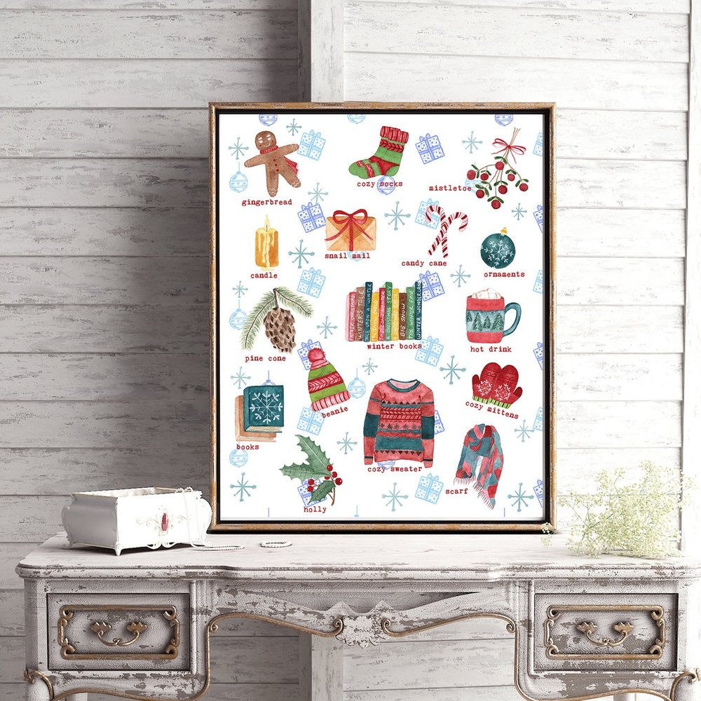 winter favorites christmas illustrations print