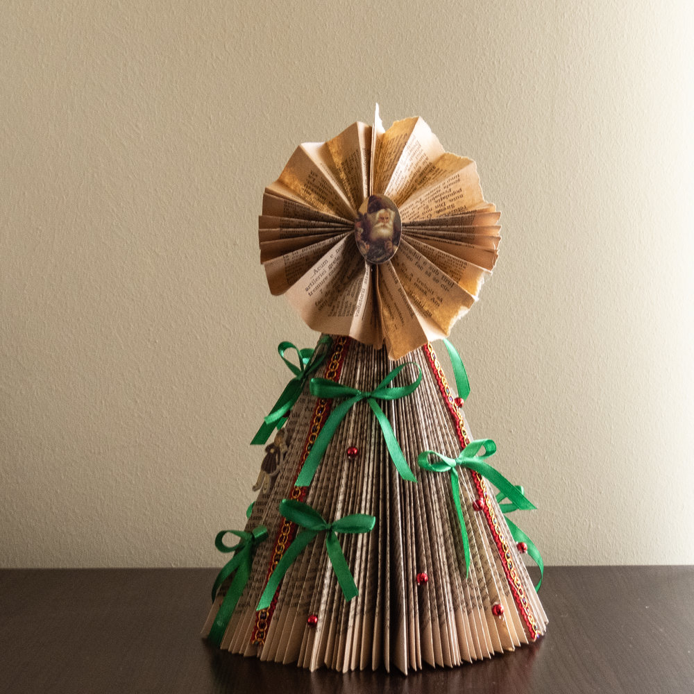 diy small christmas tree from book pages