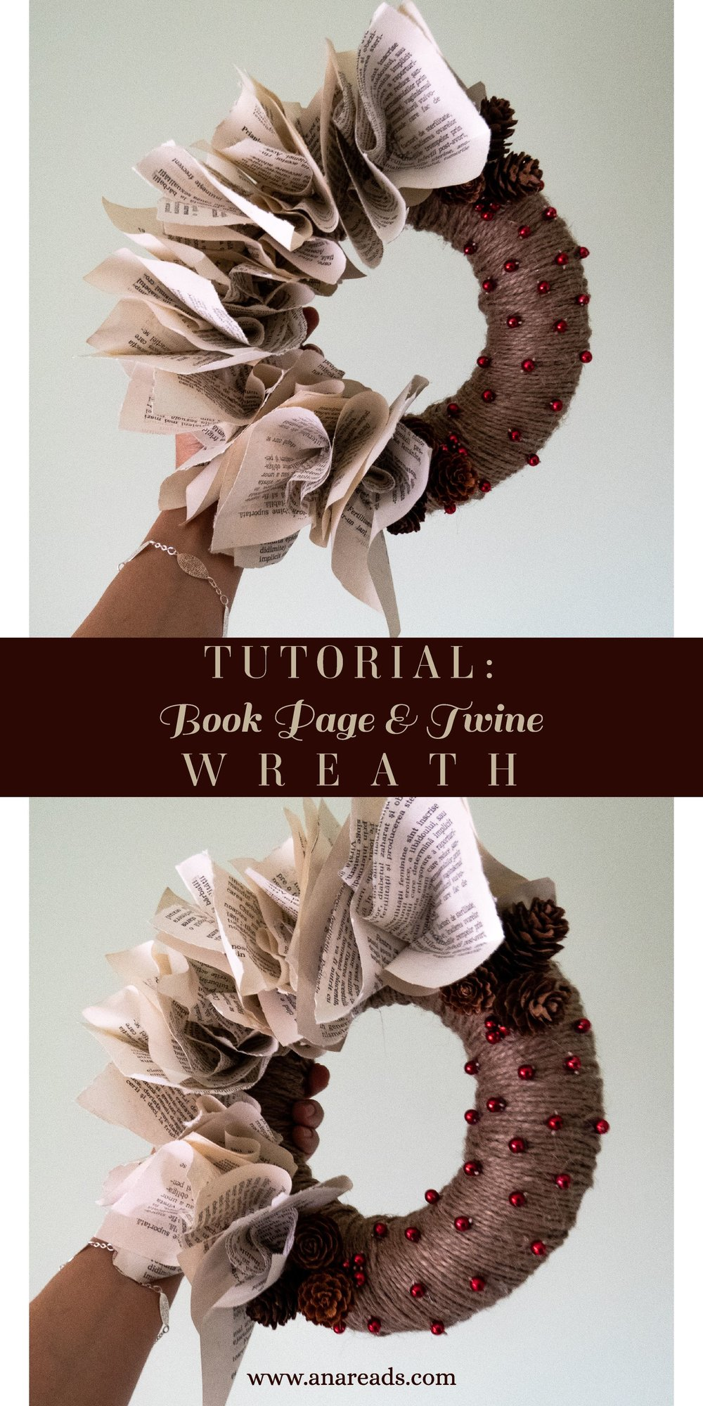 diy christmas wreath from old book pages