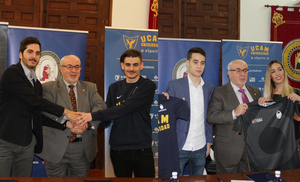 En la foto ( editada ): Jose Luis Mendoza Pérez  (Presidente de la UCAM) durante los actos de  firma de los dos nuevos becados eSports, José Miguel 'Josemi' Pascuale ( WildGaming ) y Luis 'Koldo' Pérez ( x6tence eSports Club ).