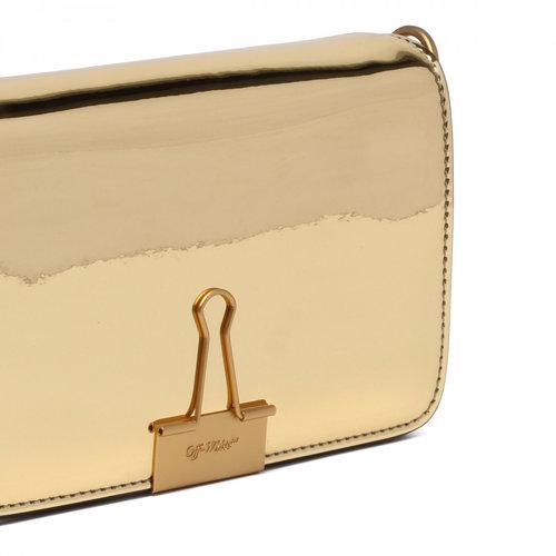 3b7ead6f7ccc Off-White c o Virgil Abloh Gold Metallic  binder Clip  Bag — High ...