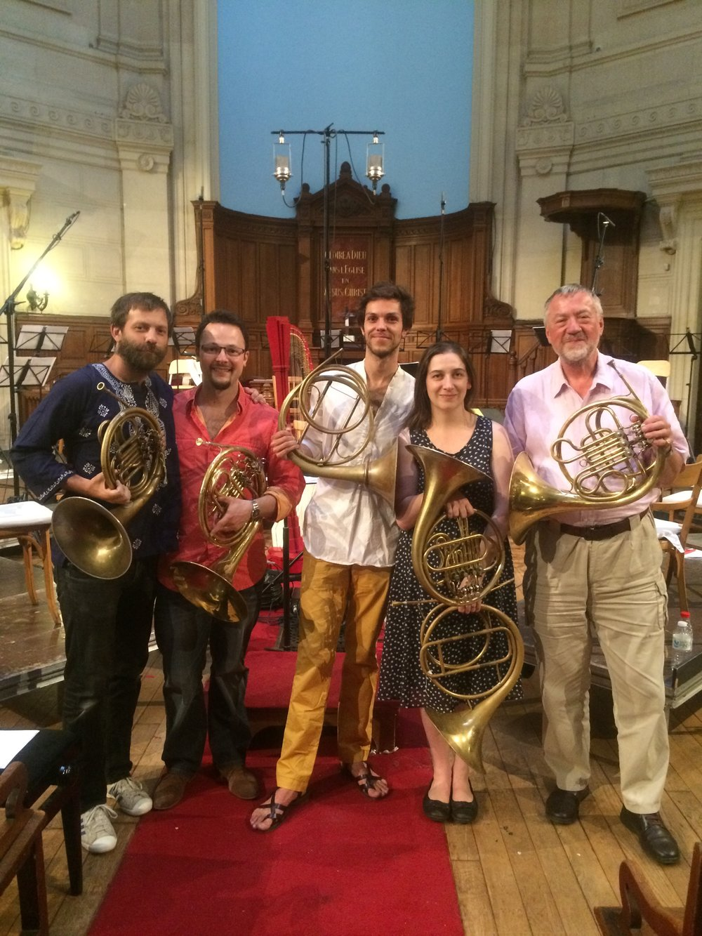 Left to right: Joseph Walters, Olivier Picon, Raphaël Pichon, Anneke Scott and Chris Larkin.