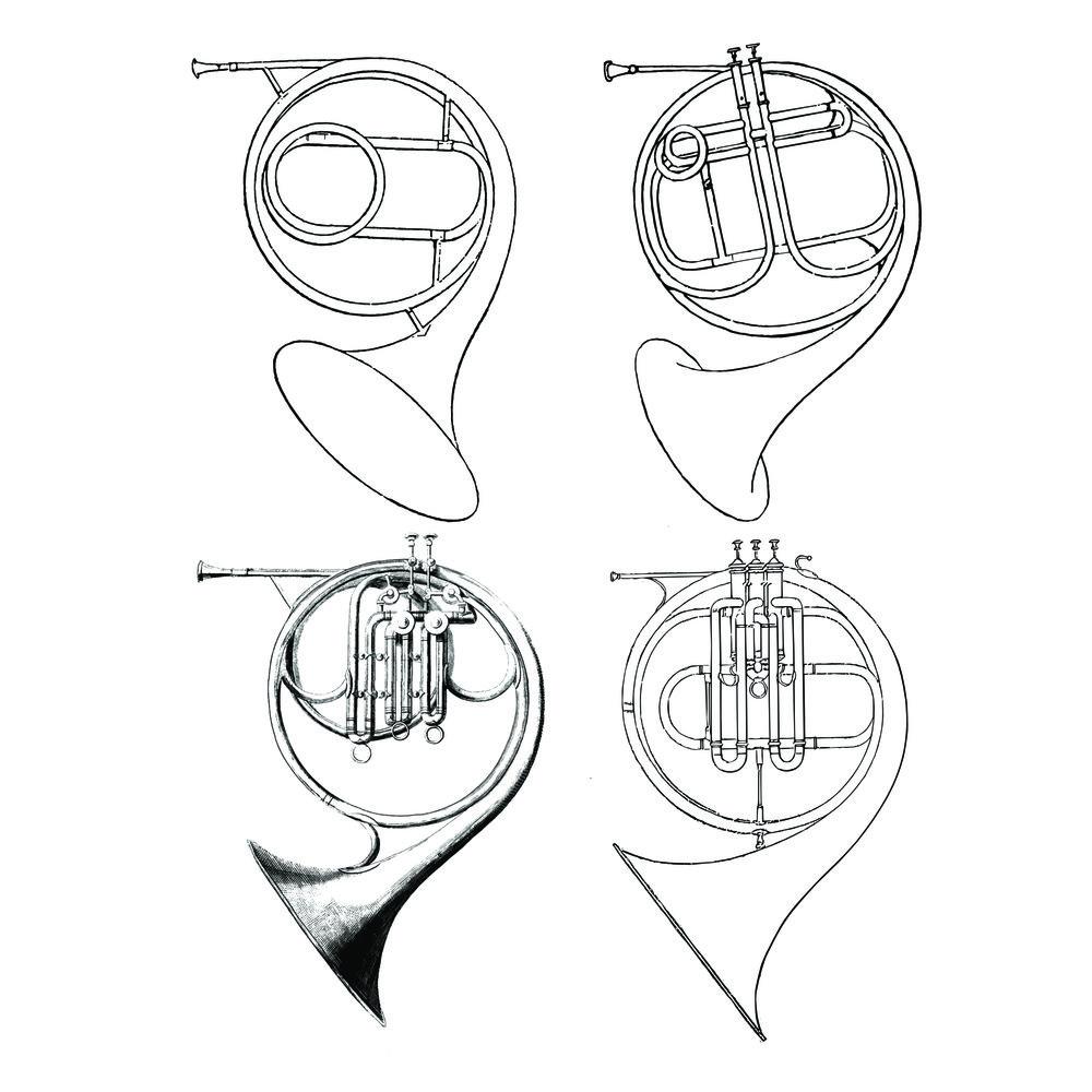"Top left: Cor solo (Raoux) from Gallay's  Méthode , Top right: Two Stölzel-valved horn (Raoux) from Gounod's  Méthode   Bottom left: ""Cor Chromatique"" (Halary) from Meifred's  Méthode  (c.1840), Bottom right: ""Cor Chromatique"" (Halary) from Meifred's  Méthode  (2nd edition c.1849)."