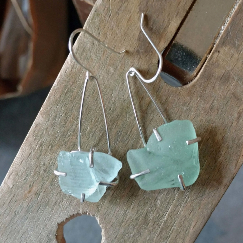 Sea Glass Earrings - Family collected sea glass that were turned into earrings!  Great holiday gift(s) that recall family vacations!