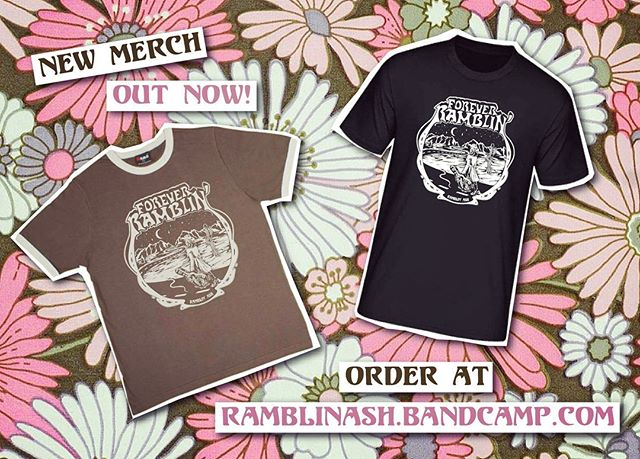 ⚡️New Merch⚡️ Super excited to release this epic new design by @shannon_elizabeth_art 😍💕 You can get your paws on one at ramblinash.bandcamp.com/merch ⚡️ The shirts come in retro brown ringer tees (limited numbers) and good ol' badass black tees perfect for ridin' bikes and robbing banks - Ca-Ching! 💰🏍
