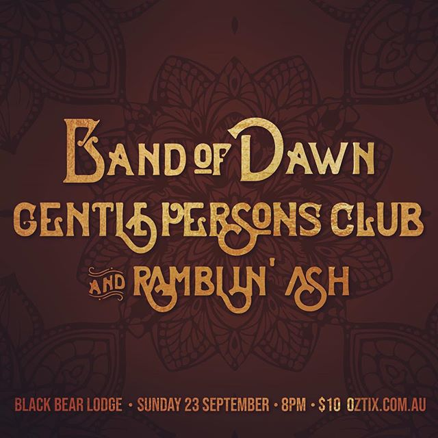 ⚡️ Coming up ⚡️ I'll be playing a show Sept 23 with my lil trio supporting the phenomenal  @bandofdawn and @gentlepersonsclub at @blackbearlodge - swoop on over to Oztix to grab yerself a ticket and come for a night of beautiful music.