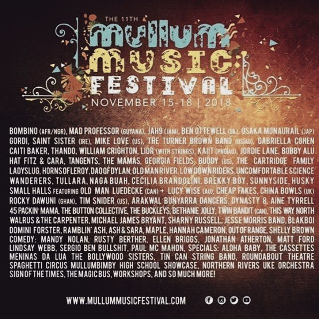 ⚡️Mullum Music Festival 2018⚡️ Excited to announce I will be playing @mullummusicfestival this year amongst a line up of some pretty damn amazing artists ✨ This festival is one heck of a good time - head to the website to check it out x