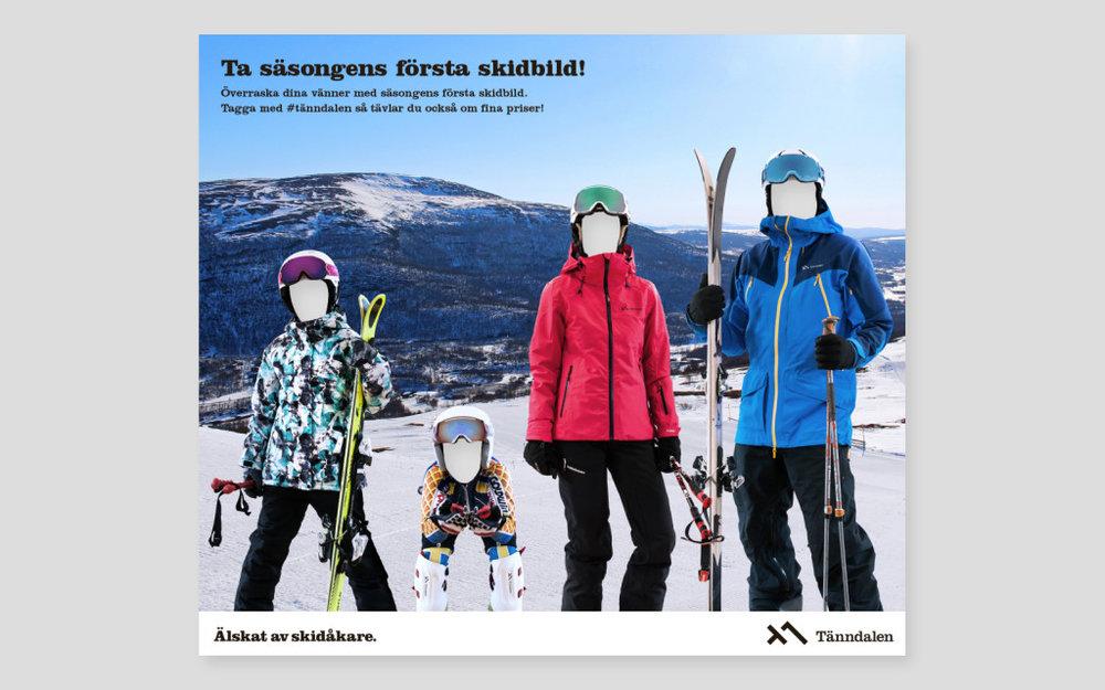 """Fotovägg """"Ta årets första skidbild"""". Användes under Stockholm Winter Show,"""