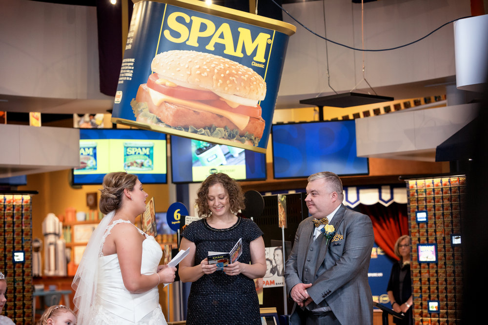 Mark I Love SPAM Benson marries Anne Mousley at the SPAM Museum in Austin, MN