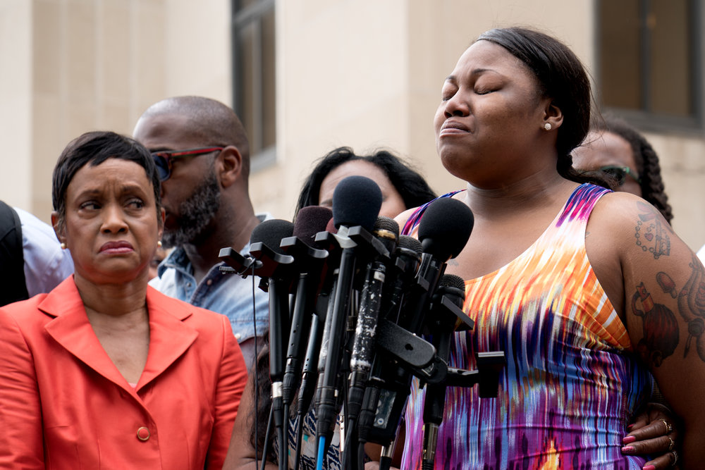 Allysza Castile (Philando's sister) speaking outside the Ramsey County Courthouse in St Paul, MN