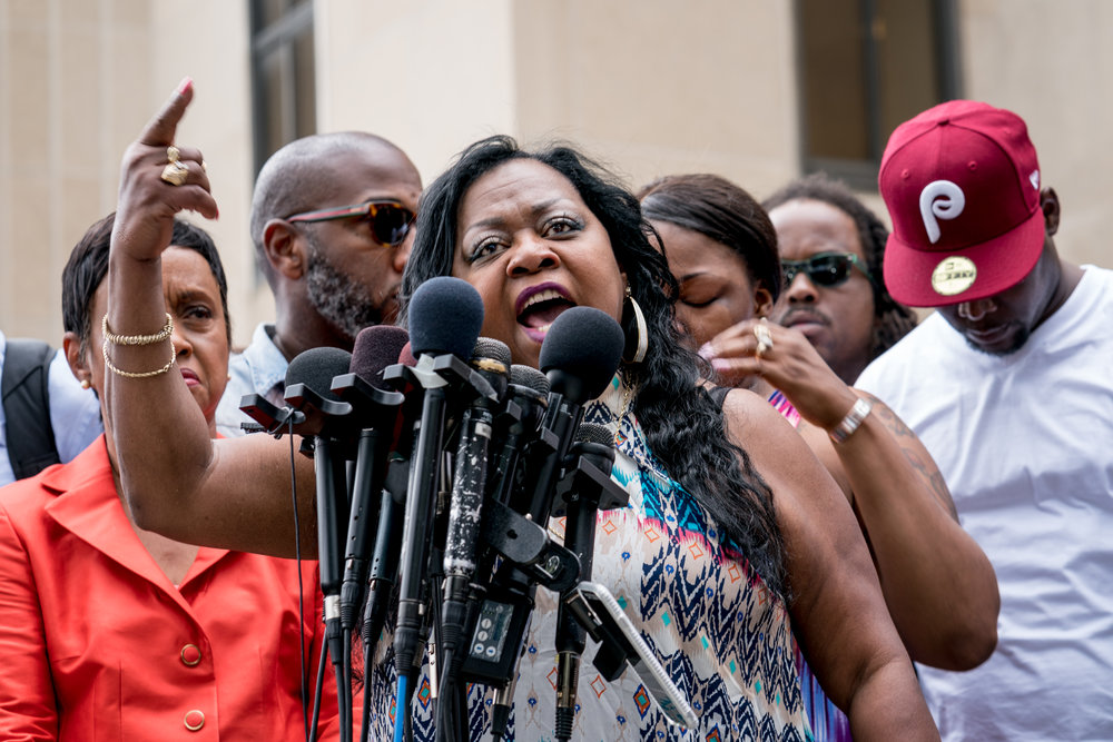 Valerie Castile (Philando's mother) speaking outside the Ramsey County Courthouse in St Paul, MN