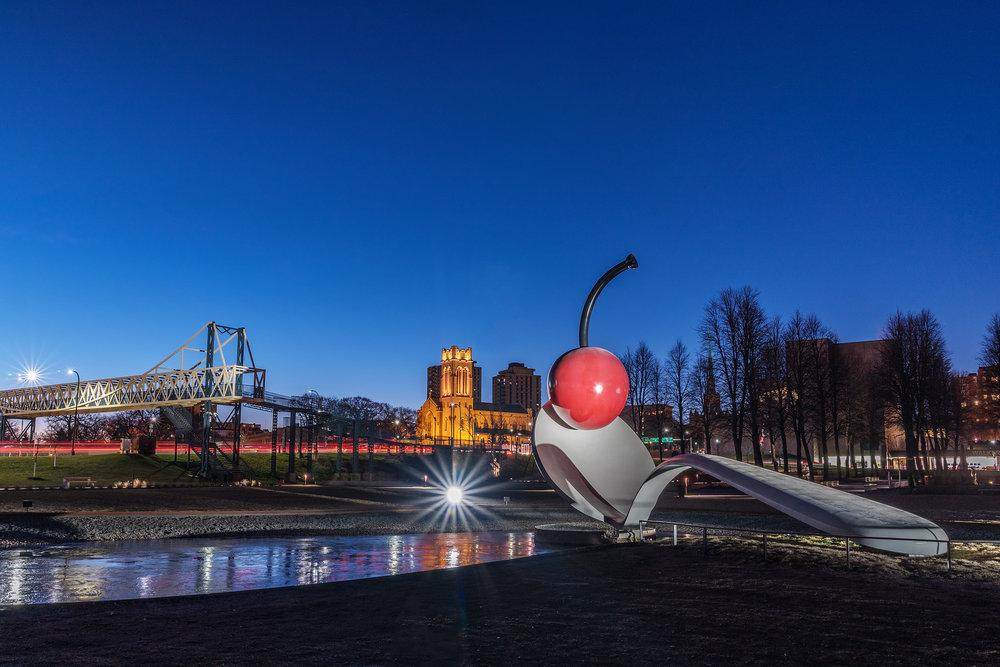 Spoonbridge and Cherry at dawn by Claes Oldenburg Coosje van Bruggen, Walker Art Center, Minneapolis MN