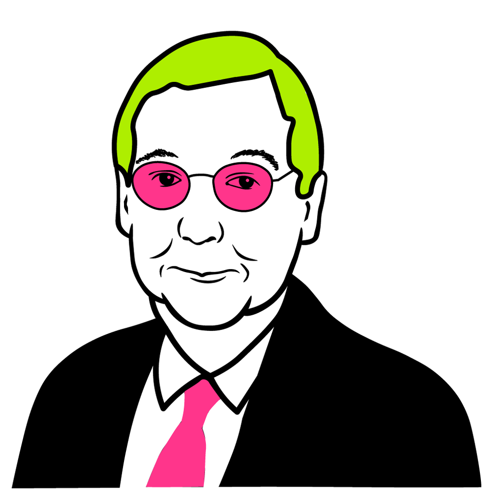 Mitch McConnell with pink glasses & green hair...just because he needed some color