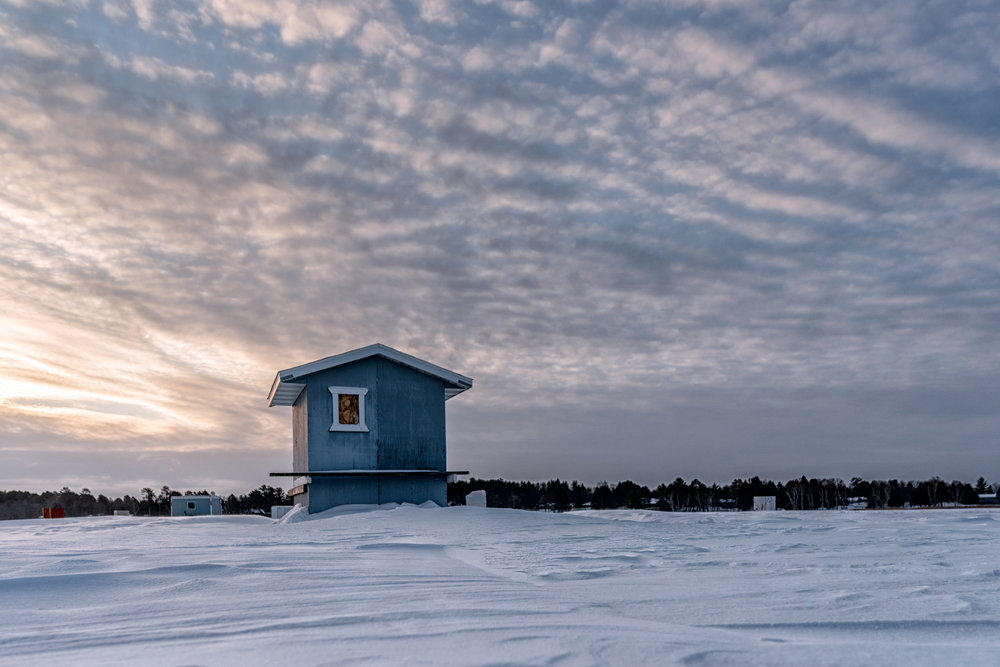 Ice fishing house on Fishhook Lake, Park Rapids MN