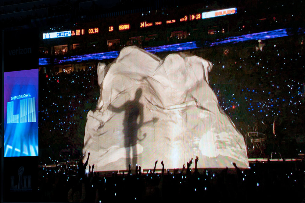 Prince's shadow makes an appearance at the Super Bowl Half Time Show, Minneapolis MN