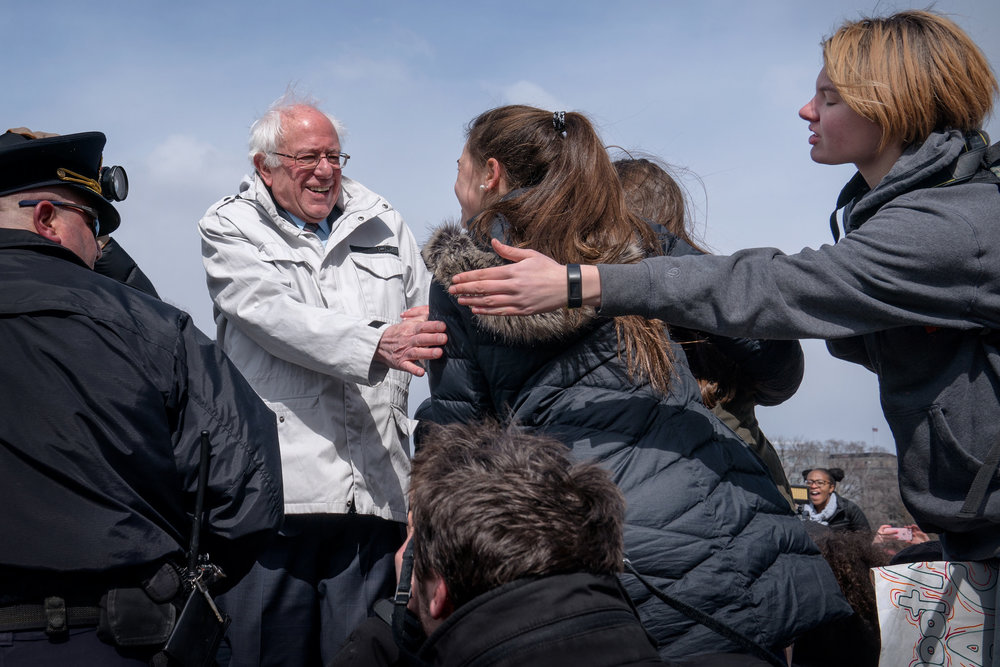 Bernie Sanders participating in National Walkout Day at the US Capitol