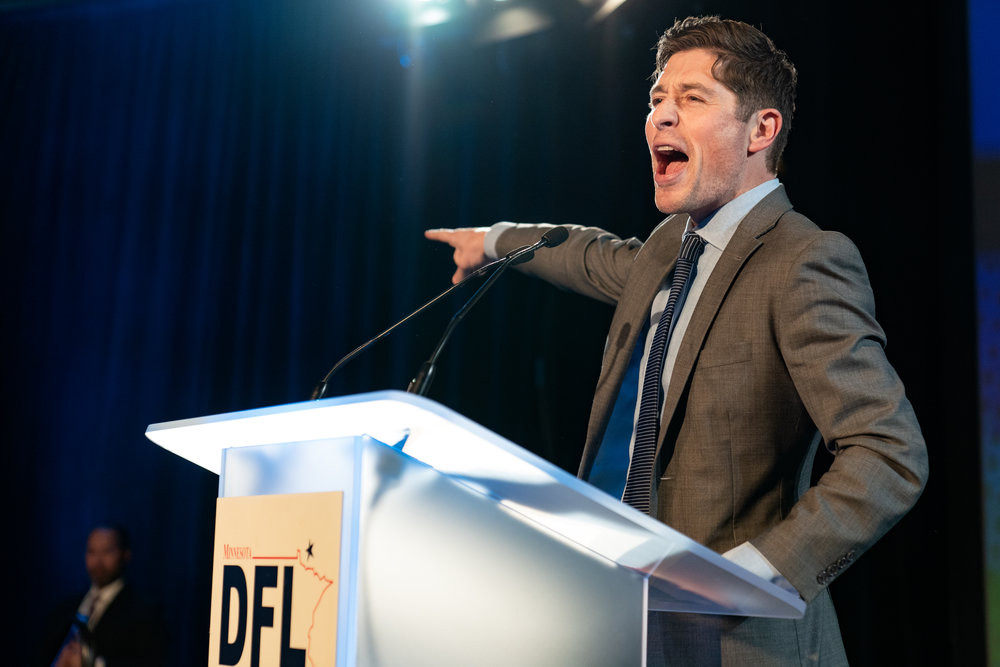 Mayor of Minneapolis, Jacob Frey, speaking at the Minnesota DFL election party on election eve in St Paul, MN