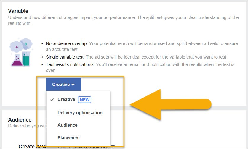 (The 4 variable categories you can split test in Facebook Ads)