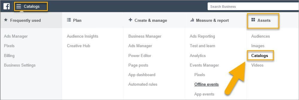 (How to access the Catalogues section in Business Manager)