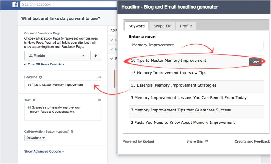 Use  Headlinr  for your Facebook or Google Advertising!