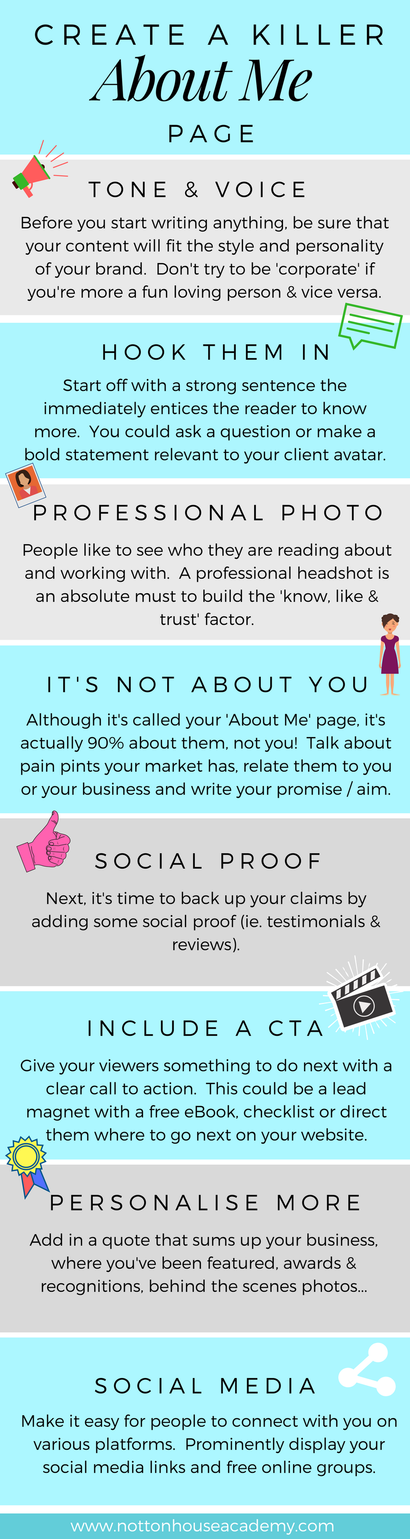 About Me Page Infographic & Checklist -