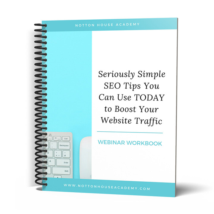 DOWNLOAD YOUR FREE SEO WORKBOOK - Learn the Simple SEO Tips I used to triple my website traffic in just 30 days!