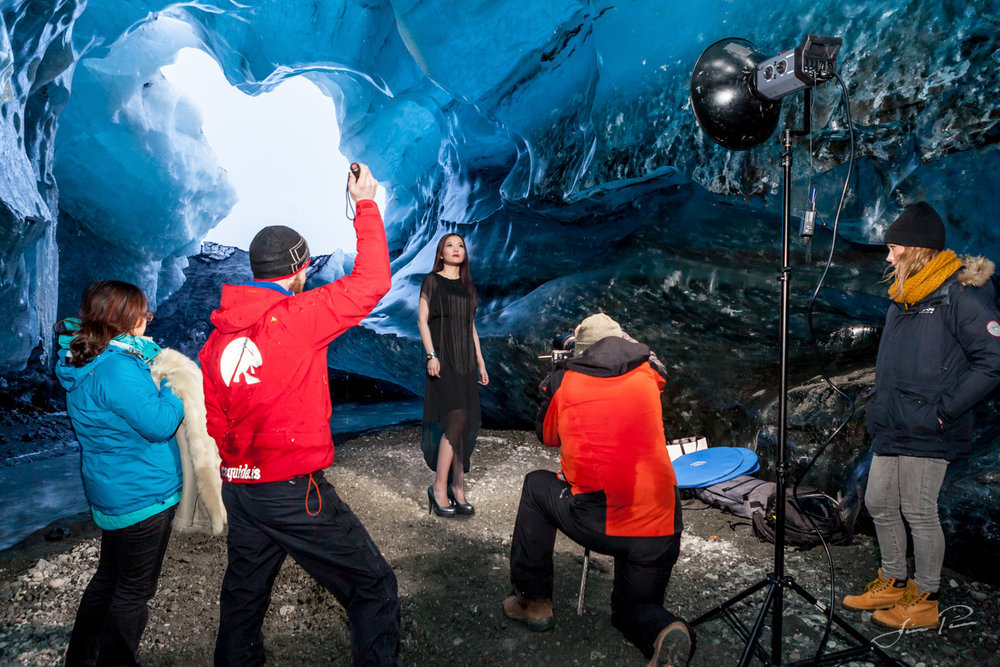 Photo shoot in an ice cave in Iceland