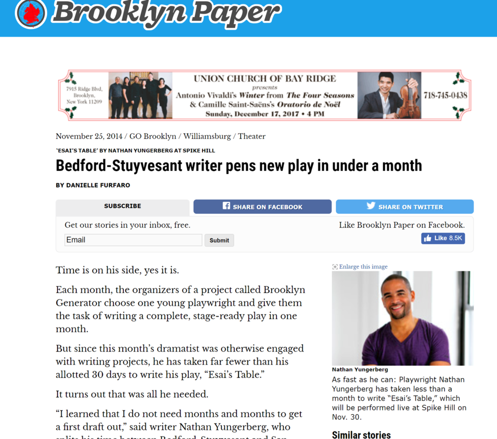 "Brooklyn Paper - Time is on his side, yes it is. Each month, the organizers of a project called Brooklyn Generator choose one young playwright and give them the task of writing a complete, stage-ready play in one month. But since this month's dramatist was otherwise engaged with writing projects, he has taken far fewer than his allotted 30 days to write his play, ""Esai's Table."" It turns out that was all he needed. (click on image for full article)"