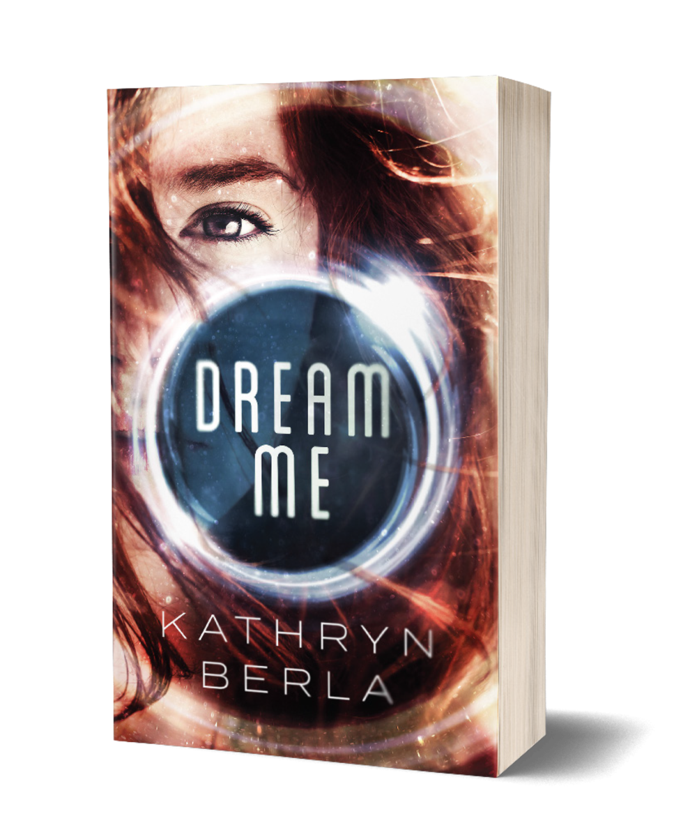 Dream Me book cover, close up shot of red haired girl, glowing circular orb holding title