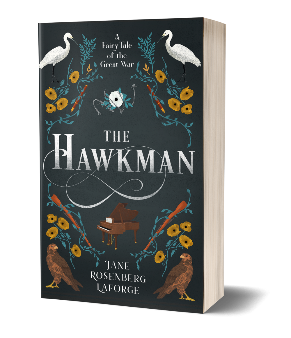 The Hawkman book cover, piano, hawk in bottom corners, swan in top corners, flowers, pens