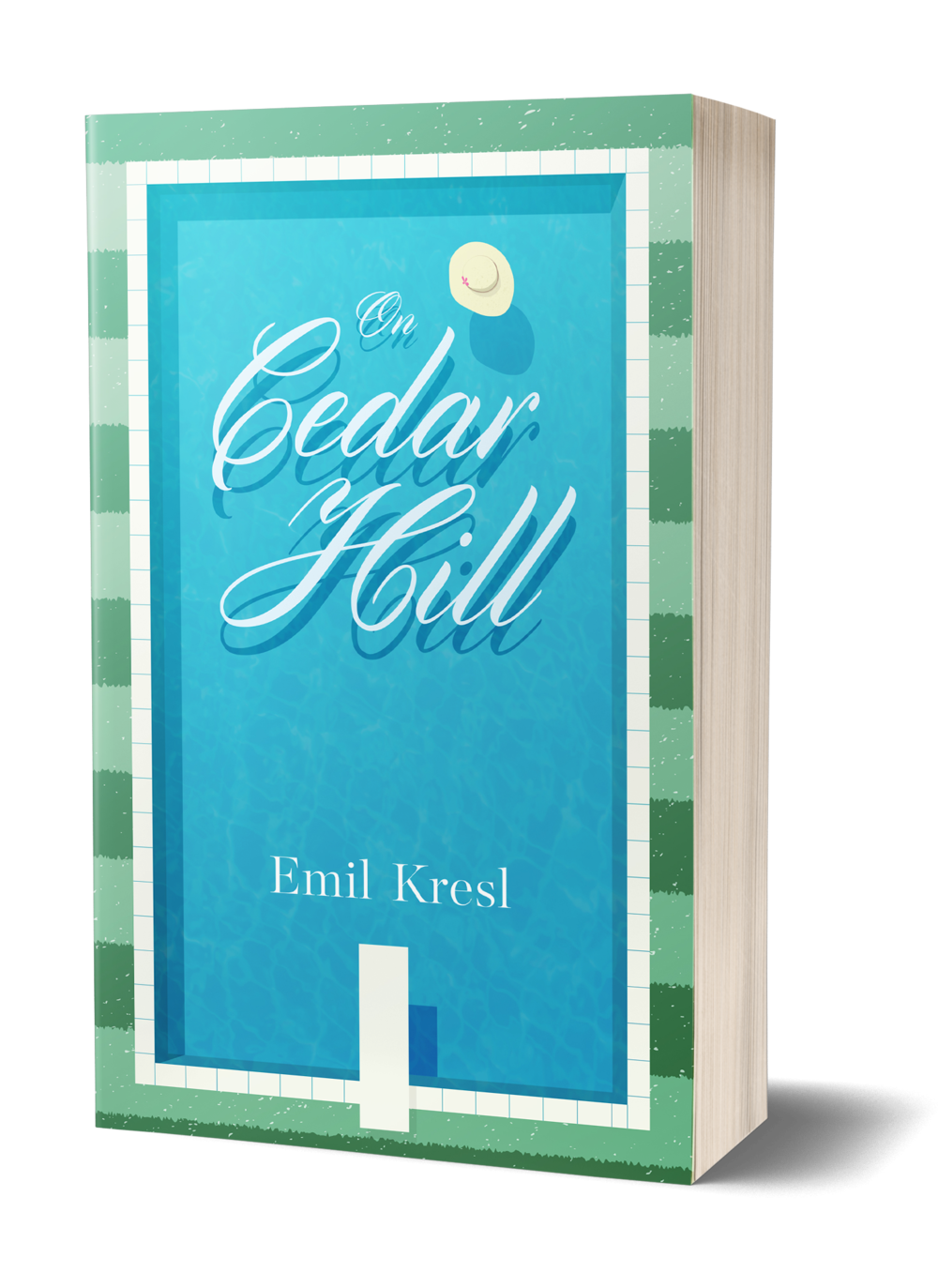 On Cedar Hill book cover, blue pool, surrounded by rows of green lawns, diving board, hat floating in pool