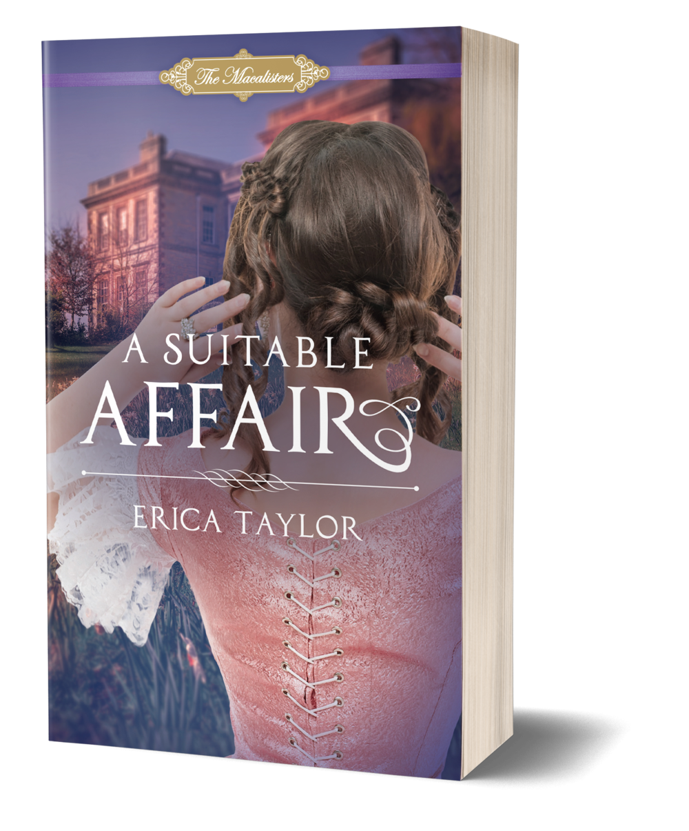 A Suitable Affair book cover, woman with her hands in her braided hair, looking at large, fancy house in background