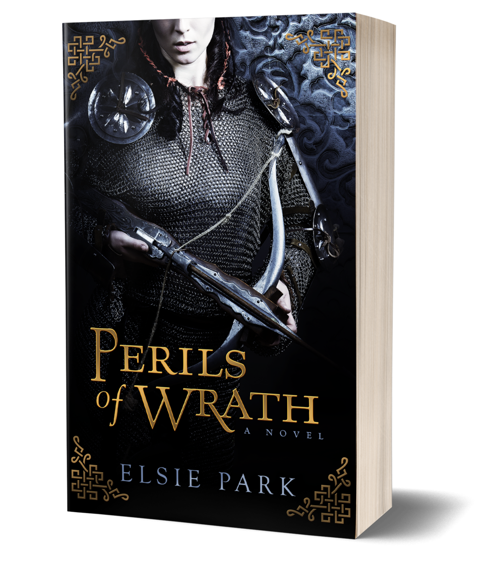 Perils of WRTH BOOK COVER, WOMAN HOLDING CROSSBOW, WEARING ARMOR