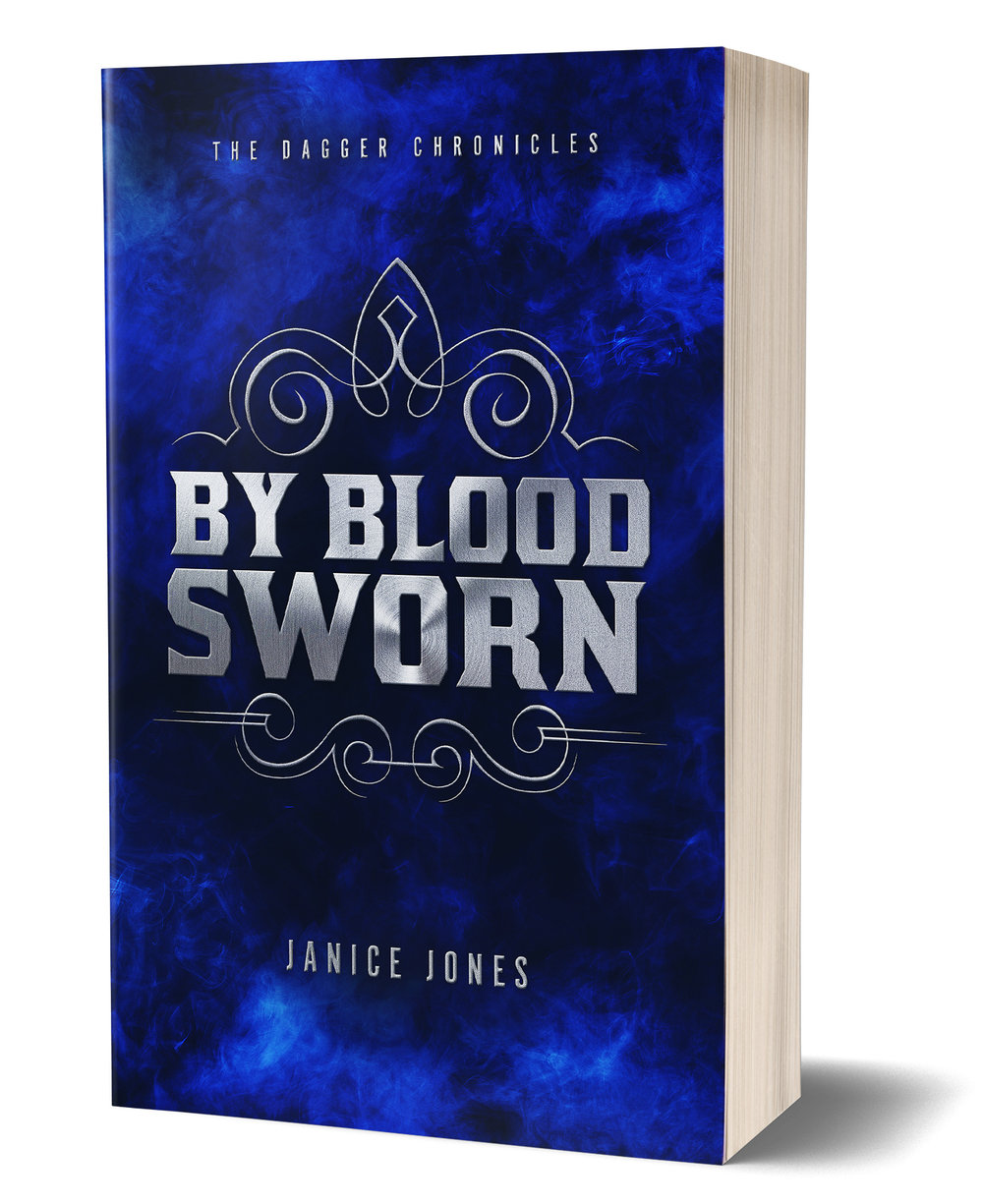 By Blood Sworn book cover, blue background, words written in foreground
