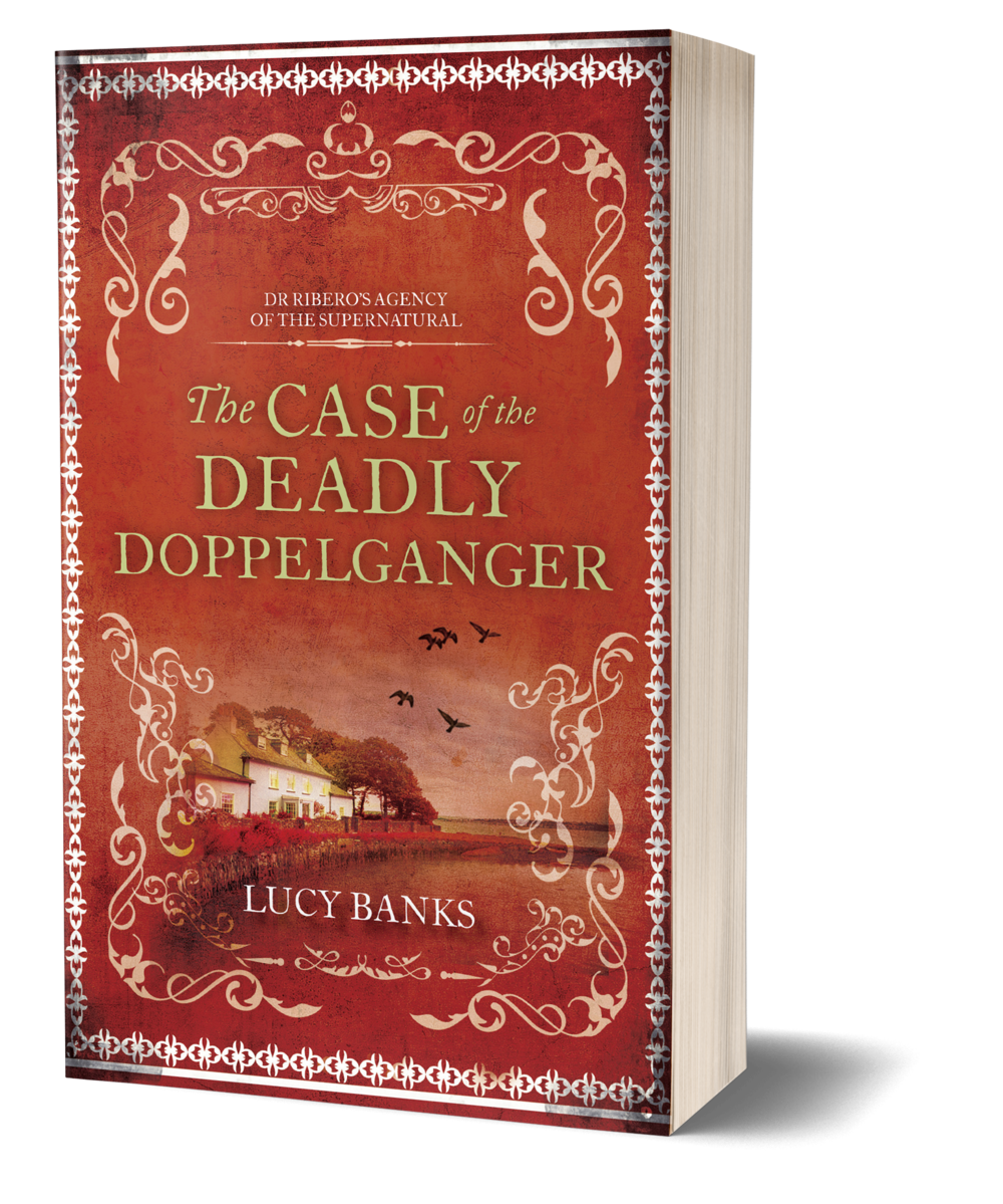 The Case of the Deadly Doppelganger book cover, red cover, cottage house, country side, birds flying