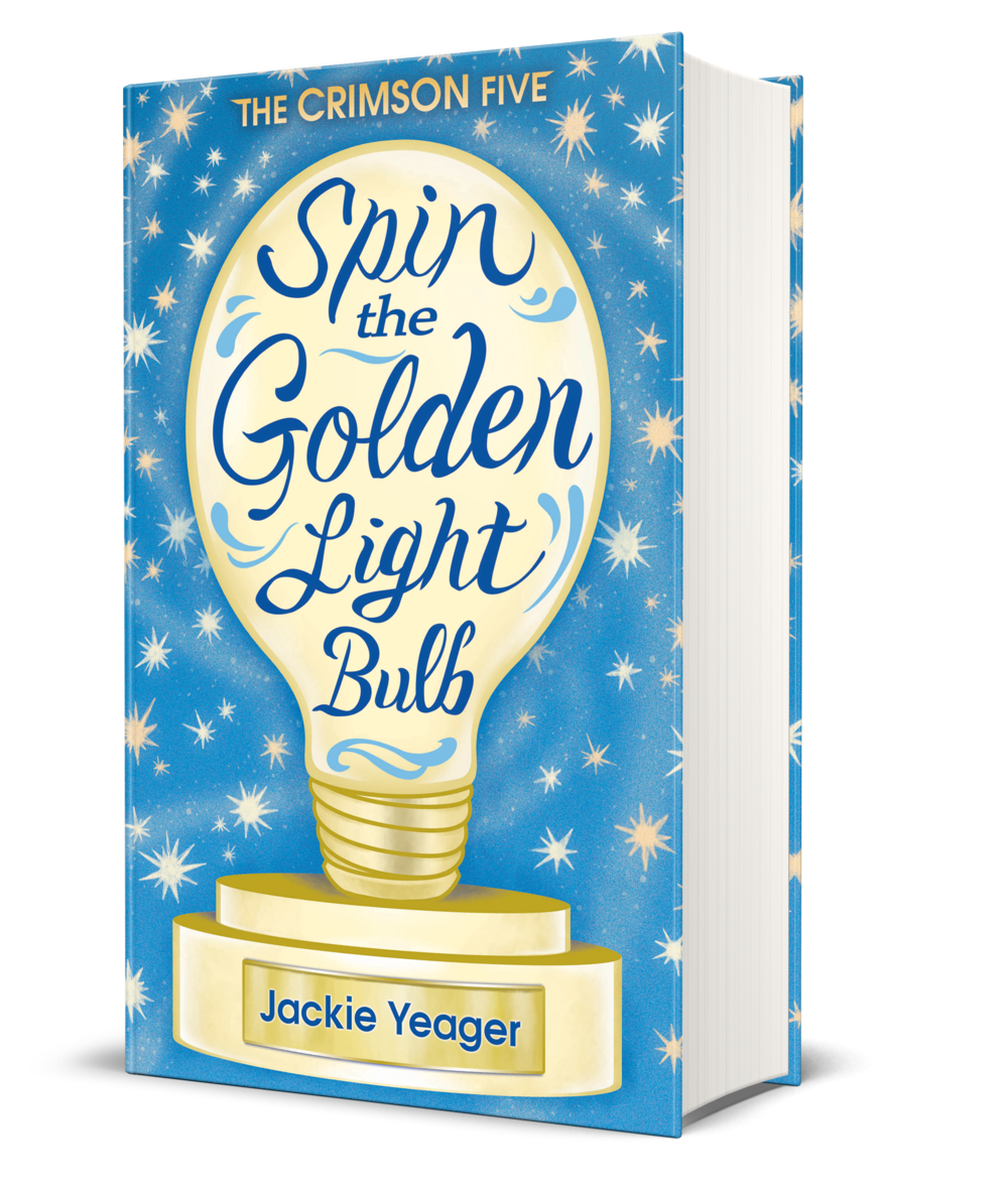 Spin the Golden Lightbulb book cover, blue background, yellow lightbulb, yellow and white stars in background,