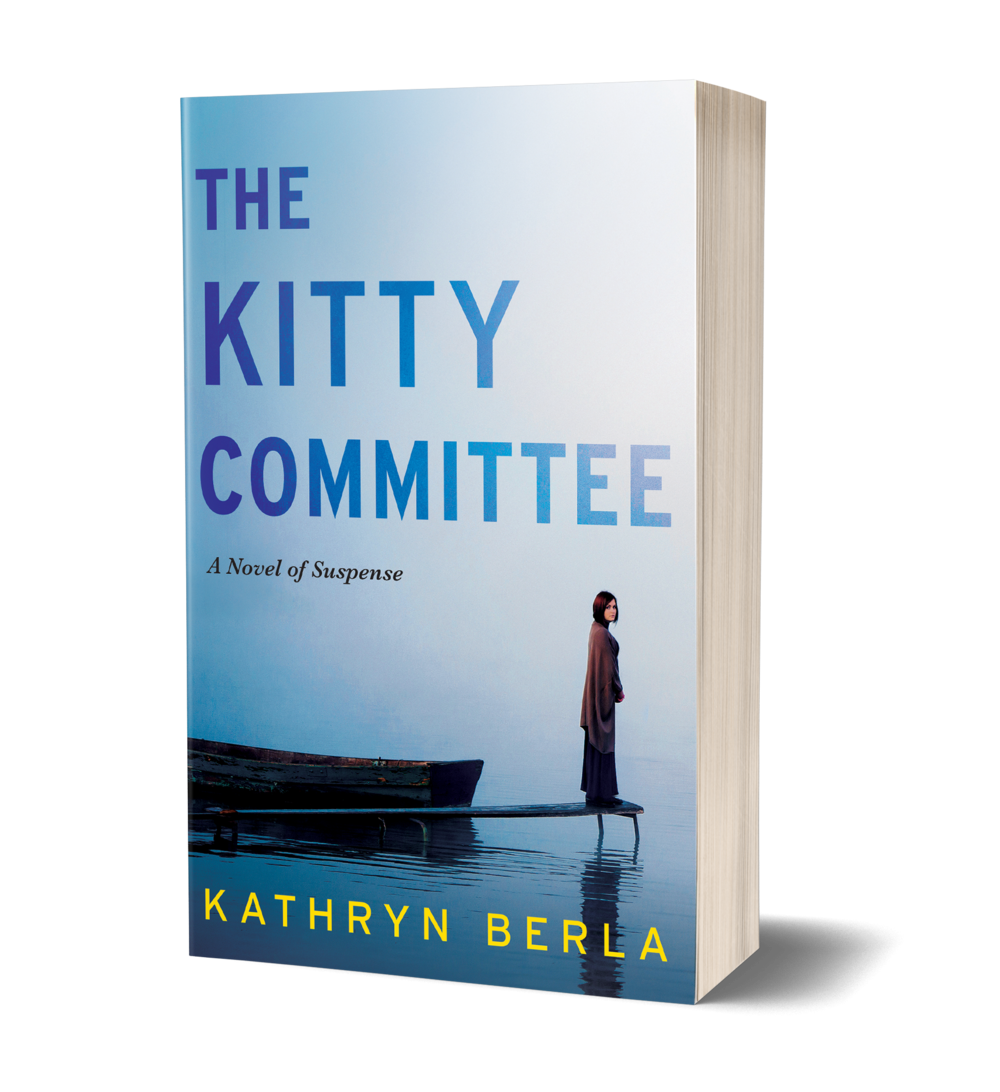 The KIty Committee book cover, women standing alone on dock, with boat floting near here